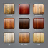 Set of wood icons Stock Photos