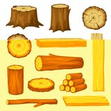 Set of wood logs for forestry and lumber industry. Illustration of trunks, stump and planks.  Stock Images