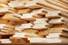 Set of wood lumber materials. Set of Stacked wood pine timber for construction buildings and furniture production stock photos