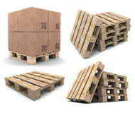 Set of wood pallets. Stock Photos