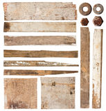 Set of wood plank. Isolated on white background (Save Paths For design work royalty free stock photos