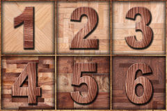 Set of wood printers type from one to six Royalty Free Stock Photos