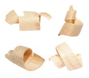 Set wood shavings isolated on white background Stock Photography