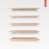 Set of Wood Shelves Vector Isolated on the Wall Background Royalty Free Stock Image