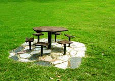 Set of wood table in the park Stock Photography