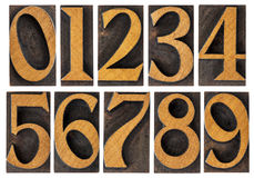 Set of wood type numbers isolated Royalty Free Stock Photography