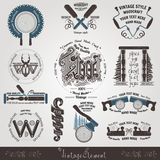 Set woodcraft and carpenter label brand style Stock Images