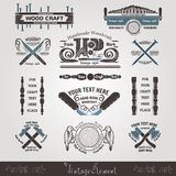 set woodcraft and carpenter label style Royalty Free Stock Photos