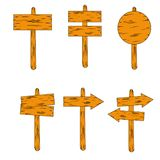 Set of wooden arrow plate way direction vector illustration