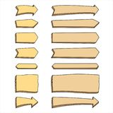 Set of wooden arrows on a white background stock illustration