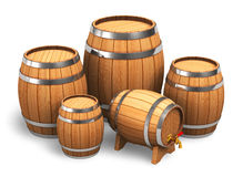 Set of wooden barrels Royalty Free Stock Images