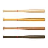 Set of wooden baseball bats Royalty Free Stock Photos