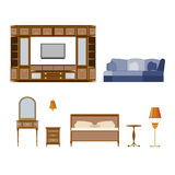 Set of wooden bedroom furniture and living room vector illustration Stock Images