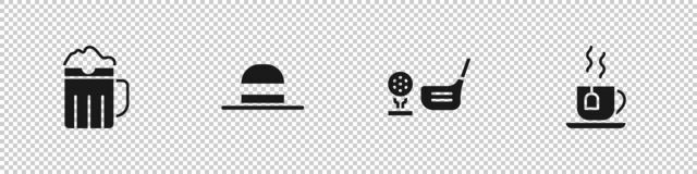 Set Wooden beer mug, Elegant women hat, Golf club with ball on tee and Cup of tea tea bag icon. Vector