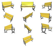 Set Wooden bench on white Vector Stock Photography