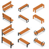 Set of wooden benches for the Park. Isometric style. Stock Photo