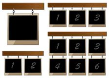 Set of wooden boards with empty frames Royalty Free Stock Photos