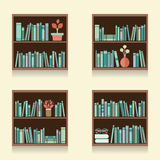 Set Of Wooden Bookshelves On Wall. Vector Illustration stock illustration