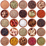 Set of wooden bowls full of different spices stock photos
