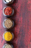 Set of wooden bowls with Indian spices Royalty Free Stock Photography