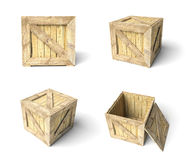 Set wooden box Royalty Free Stock Images