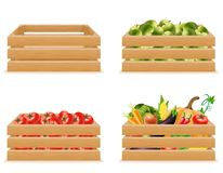 Set wooden box with fresh and healthy vegetables vector illustra Stock Photography