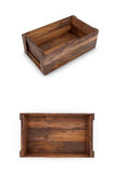 A set of wooden boxes on a white background. 3D illustration Stock Photo