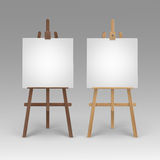 Set of Wooden Brown Sienna Easels with Canvases Stock Photos