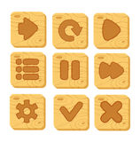 Set of wooden buttons. With web icons,  vector elements. wooden gui elements, vector isolated games assets Stock Images