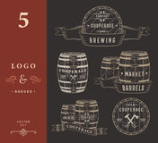 Set Wooden Casks Badges and Cooperage Logo Stock Image