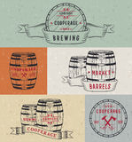 Set Wooden Casks Badges and Cooperage Logo Royalty Free Stock Images