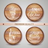 Set of wooden casks with wine label Stock Images