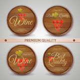 Set of wooden casks with wine label Stock Photography