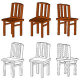 Set of wooden chair (3d) Stock Photography