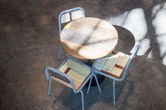 Set of wooden chair and table Royalty Free Stock Photo