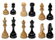 Set of wooden chess pieces Royalty Free Stock Image