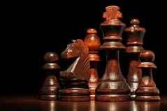 Set of wooden chess pieces Royalty Free Stock Images