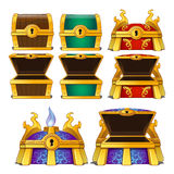 Set of wooden chests of different colors Stock Image