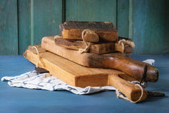 Set of wooden chopping boards Royalty Free Stock Photography
