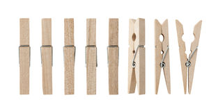 Set of wooden clothes pins Stock Image