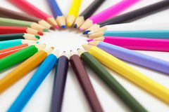 Set of wooden color pencils Royalty Free Stock Photo