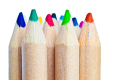 Set of wooden color pencils Royalty Free Stock Image