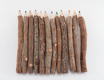 Set of wooden color pencils Royalty Free Stock Photos