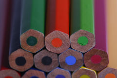 Set wooden color pencils background Royalty Free Stock Images