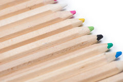 Set of wooden color pencils isolated on white Royalty Free Stock Photography