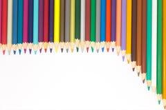 Set of wooden colour pencils on white Royalty Free Stock Photos