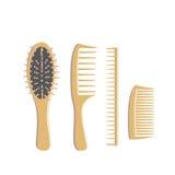 Set of wooden combs Stock Photos