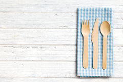 Set of wooden cutlery Stock Photo