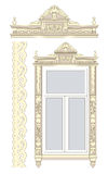 Set of wooden decorations. For the window Stock Illustration