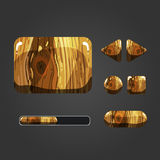 Set of wooden different buttons. For game design royalty free illustration